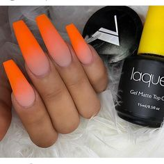 using laque'd matte for these perfect nails! Fabulous Nails, Perfect Nails, Gorgeous Nails, Orange Ombre Nails, How To Ombre Nails, Hair And Nails, My Nails, Laque Nail Bar, Nailart