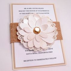 Lace Doily Burlap Wedding Invitation.