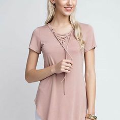Good Morning Beautiful!!! Dying over our new shipment!! Lace up top available in blush and pale blue $28.95