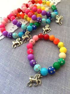 Rainbow, unicorn charm, pattern, beaded, children, bracelet, party favor. SET of 10.