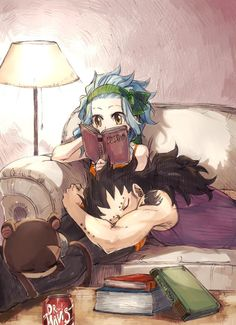 Gajeel and Levy, Levy reading a book and Gajeel sleeping on her lap ❤ Haha, Dr. Mavis down at the bottom xD