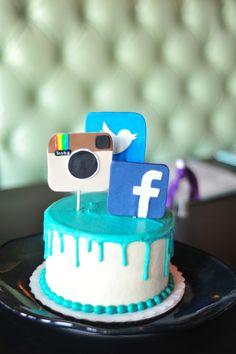 Social Media Cake Facebook Snapchat Instagram Custom
