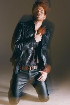 Adam Lambert Rocks Leather for The Original High Album Art Photo Shoot by photographer David Roemer The Fashionisto, Leather Trousers, Men's Leather, Leather Jackets, Hommes Sexy, Leather Fashion, Men's Fashion, Handsome, Menswear
