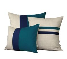 Signature Colorblock Pillow - Teal/Navy/Natural Linen. Layered colorblock stripes in teal, navy and neutral give this natural linen pillow cover a punch of color. This beautiful pillow will make the p