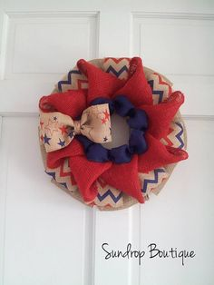Burlap Wreath, Summer Wreath, July 4th Décor by Sundrop Boutique on etsy