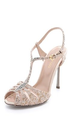 FREE SHIPPING at shopbop.com. Swarovski crystals shimmer from the cutout vamp and T-strap of brilliant, reflective Sergio Rossi sandals. Covered stiletto heel and suede sole. Made in Italy. MEASUREMENTS Heel: 4.5in / 115mm - Nude