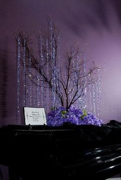Flowers, Reception, Green, Purple, Country, Lights, Tree, Manzanita, Branches, Bling