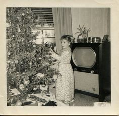 Vintage Christmas Photo Girl Decorates Tree by vintagephotogal, $5.00