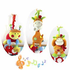 Music Box Animal Baby Educational Toys Infant Rattle Stuffed Doll  Mobility On The Crib Bed Hanging Toy Plush Teether Dolls D045