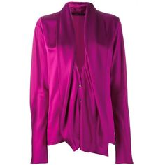 Haider Ackermann Draped Longsleeved Blouse ($818) ❤ liked on Polyvore featuring tops, blouses, purple, purple long sleeve blouse, silk blouse, purple top, silk top and long sleeve tops