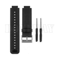Black Silicon Watch Band Strap W/Tools For Garmin Vivoactive Smart Watch Gb
