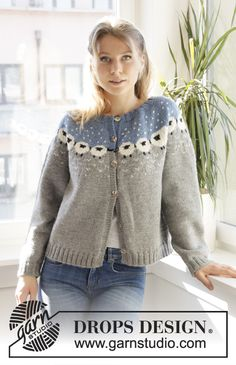 Cardigan - Knitted jacket with round yoke in DROPS Lima. Piece is knitted top down in Nordic pattern with sheep. Size: S - XXXL - Free pattern by DROPS Design Fair Isle Knitting Patterns, Sweater Knitting Patterns, Knitting Stitches, Free Knitting, Scarf Patterns, Crochet Patterns, Cardigan Design, Knit Cardigan Pattern, Jacket Pattern