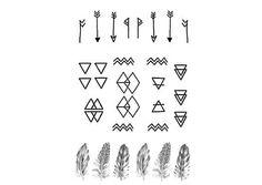 Minimal Geometric Mini Tattoos by DrawAbidingCitizen on Etsy