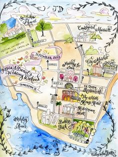 Custom Wedding Map- Calligraphy and Watercolor by CaligrafiaBella on Etsy https://www.etsy.com/listing/109411534/custom-wedding-map-calligraphy-and
