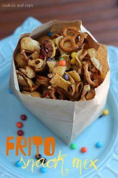 Frito Snack Mix - a variation on my caramel chex mix. Snack Mix Recipes, Yummy Snacks, Yummy Treats, Cooking Recipes, Healthy Snacks, Yummy Food, Snack Mixes, Party Recipes, Delicious Recipes