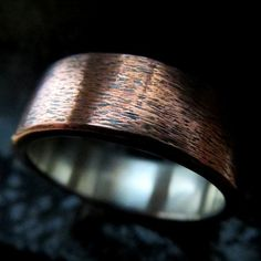 Mens Wedding Ring Unusual Rustic Steampunk Subtle Texture Copper and Fine Silver Band 8mm Design 0101CS