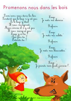 Let's wander in the forest Learning Activities, Kids Learning, Activities For Kids, French Poems, Great Song Lyrics, French Nursery, French Classroom, French Lessons, Teaching French