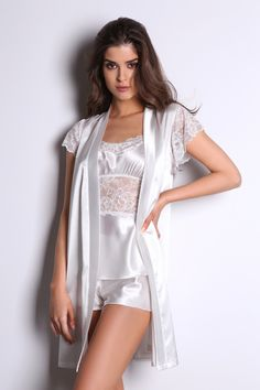 Satin & lace details Robe #milenabyparis | #bridal | #lingerie | #robe Bridal Lingerie, Lace Detail, Satin, Dresses, Fashion, Moda, Vestidos, Fashion Styles, Satin Tulle