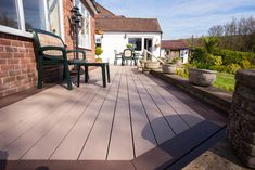 EasyClean Terrain Birch with Elm Picture Framing Timbertech Decking, Plastic Decking, Outdoor Spaces, Outdoor Decor, Composite Decking, Birch, Picture Frames, Composition, Patio