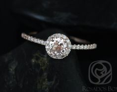 Sunny 6mm 14kt White Gold Round Morganite and by RosadosBox