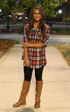 The Pink Lily Boutique - Red Flannel Belted Tunic Dress, Fall Winter Outfits, Autumn Winter Fashion, Outfits Con Camisa, Looks Style, My Style, How To Wear Flannels, Red Flannel, Flannel Tunic, Feminine Fashion