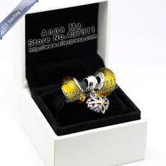 New S925 Sterling Silver K gold pendant love Fascinating Charm Jewelry Set  Fit European Charm DIY Bracelet & Necklace Pendant
