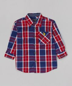 Look what I found on #zulily! Red & Navy Plaid Button-Up - Boys #zulilyfinds
