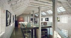 Industrial style loft Loft, ideas, home, house, apartment, decor, decoration, indoor, interior, modern, room, studio.