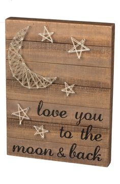 """- Natural string is wrapped around silvery nails to form a country-chic moon-and-stars design on a rustic wooden box sign stamped with the words 'Love you to the moon & back.' - 12"""" x 16"""". - Wood/meta"""