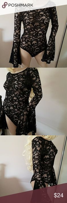 Forever21 black lace bell sleeve bodysuit NWT S/M Forever21 black lace low cut nack wide bell sleeve bodysuit NWT sixe M runs more like Small  gorgeous Forever 21 Tops Blouses