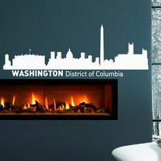 Washington Skyline Wall Decal Vinyl Sticker District Of Columbia City Silhouette Wall Decals Vinyl Stickers Home Decor Living Room Columbia City, City Skylines, Skyline Silhouette, Vinyl Wall Decals, Living Room Decor, Washington, Stickers, Etsy, Home Decor