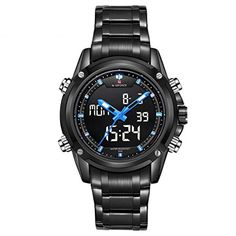 Men Watch  NAVIFORCE Mens LCD Digital Analog Quartz Date Sport Waterproof Wrist Watch ColorBlue ** More info could be found at the image url.Note:It is affiliate link to Amazon.