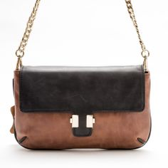 Juliet Clutch/ Sling Bag (Tan/Black) by Pink Corporation | ilovehandbags.com.au