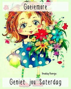 Good morning Lekker Dag, Girl Clipart, Good Morning Good Night, Day Wishes, Watercolor Illustration, Cute Art, Painting & Drawing, Folk Art, Walt Disney