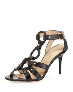 Allure Studded Harness Sandal, Black by Charlotte Olympia at Neiman Marcus.