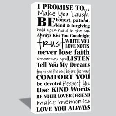 10x20 I Promise Canvas Wrap Wedding Vows Love by SadiesCanvas, $69.00