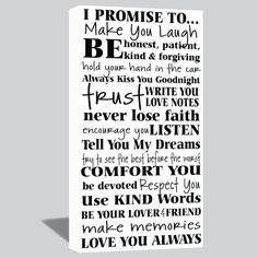 10x20 I Promise Canvas Wrap  Wedding Vows  Love by SadiesCanvas, $69.00