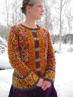 Norsk Strikkedesign (book) - Fitted Jacket with Embroidery by Kary Haugen; sample by neulova.narttu