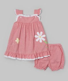 Red Gingham Daisy Dress & Bloomers - Infant