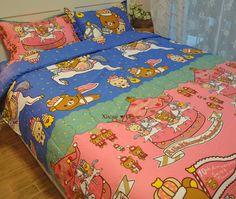 可爱卡通轻松小熊和小黄鸡Rilakkuma纯棉床上用品四件套床单床笠-淘宝网全球站