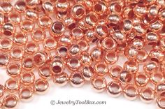11/0 Seed Beads, Metal, Size 11, COPPER Plated, 1.5x2.5mm, Brass Spacers, Made in the USA, Nickel Free, Lot Size 16 grams, #1450