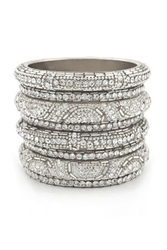 Chamak by Priya Kakkar Silver Glitz Bangle Set