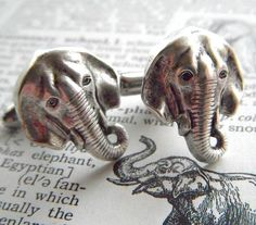 Elephant Cufflinks Silver Plated Metal Vintage by CosmicFirefly