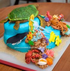 Homemade Sea Turtle Reef Cake: This Homemade Sea Turtle Reef Cake was for my son's 1st Birthday. The theme for his nursery and the party was Sea Turtles and Ocean Reef.  Everything is