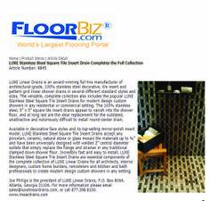 Great article post on LUXE Stainless Steel Square Tile Insert Drains from FloorBiz.com!