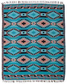 Concho design in Green Turquoise  The new & improved jacquard accent throw is hand woven in fine high-quality acrylic material and features all new designs.  Fully reversible with a negative side.  Apx. 4' x 5'