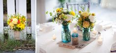 Kris and Grace: An inseparable kind of love » J Stoia Portait Design  Liza Jacobson - florals  blue canning jars, yellow and white bouquets, burlap