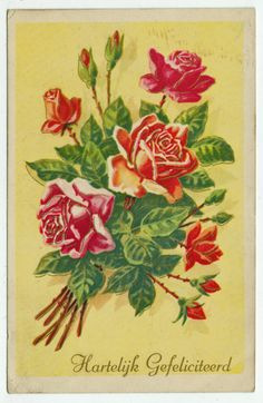 Postcards - Greetings & Congrads #  638 - Happy Birthday with Roses