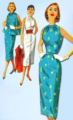 1950s Vintage Simplicity Sewing Pattern 1651 Uncut Misses Wiggle Dress Size 14…