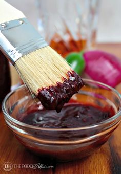 Easy homemade sweet and tangy Blueberry Bourbon Barbecue Sauce! Baste this sauce on all your favorite foods: shrimp, pork , beef or poultry! - The Foodie Affair